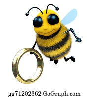 Bee-Hive - 3d Bee With Gold Ring