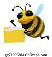 Bee-Hive - 3d Bee With Folder Of Files