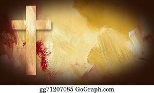 Christ-Is-Risen - Calvary Cross Sacrificial Blood Graphic On Painted Texture Backg