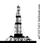 Drilling-Rig - Oil Rig Silhouette Isolated On White Background.