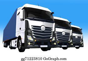 Tractor-Trailer - Cargo Trucks Fleet Illustration