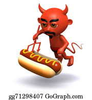 Halloween-Dog - 3d Devil With A Hot Dog