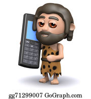 Ice-Age - 3d Caveman With A Mobile Phone