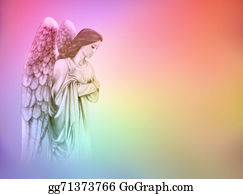 Guardian-Angel - Angel On Rainbow Background