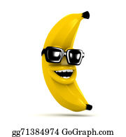 Laughing - 3d Laughing Banana Wears Sunglasses