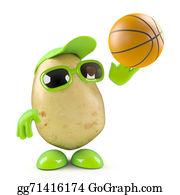 Throwing - 3d Potato Shoots The Basketball
