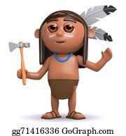 Apache - 3d Native American Indian Boy Raises His Arms