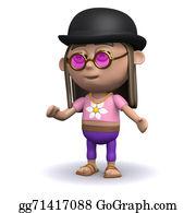 Bowler-Hat - 3d Hippy Wears A Bowler Hat