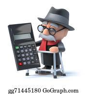 Geriatrics - 3d Grandpa And Calculator