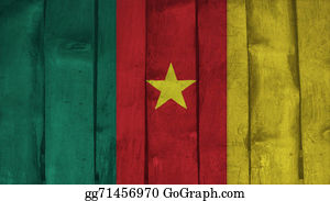Crepes - Cameroon Flag On The Wood Texture