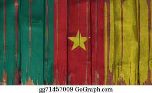 Crepes - Cameroon Flag Tinted Vertical On The Wood Texture