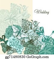 Vintage-Floral-Blue-Frame-Vector - Wedding Background In Vintage Style