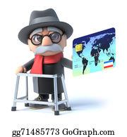 Geriatrics - 3d Grandpa Pays With A Debit Card