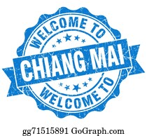 Mai - Welcome To Chiang Mai Blue Vintage Isolated Seal