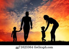 Illustration-With-Happy-Family - Happy Family At Sunset
