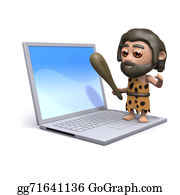 Ice-Age - 3d Caveman Standing On A Laptop Pc