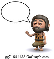 Ice-Age - 3d Caveman With Speech Balloon