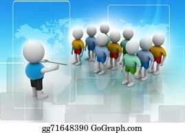 Public-Speaking - Leader Speaking To Audience. 3d Rendered Illustration.