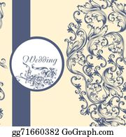 Vintage-Floral-Blue-Frame-Vector - Wedding  Pattern With Flowers