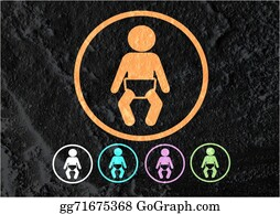 Babies-And-Toddlers-Silhouettes - Pictogram Baby Icons Sign On Cement Wall Texture Background Desi