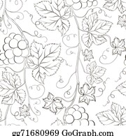 Grape-Leaf - Seamless Grape Pattern Black And White.