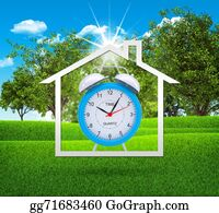 House-Alarm-Concept-Icon - House Icon With Alarm Clock