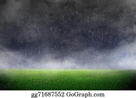 Color-Rain - Image Of Stadium In Dark And Rain. Background Green Lawn