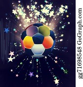 Football-Abstract - Stars Explosions And Soccer Ball