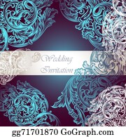 Vintage-Floral-Blue-Frame-Vector - Wedding Vector Invitation With Swirl Ornament