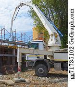 Concrete-Pump-Truck - Construction Site - Pump Truck At Work