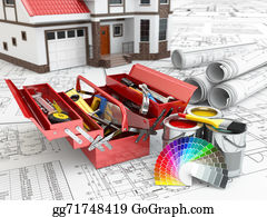 Repair - Construction And Repair Concept. Toolbox, Paint Cans And House.