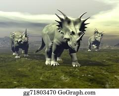 Horned-Lizard - Styracosaurus Dinosaurs Walking - 3d Render