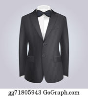Bow-Tie - Male Clothing Stiped Dark Suit With Bow Tie.