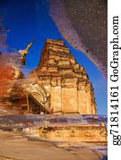 Mai - Ancient Pagoda At Wat Chedi Luang Temple On Water Reflection, Ch