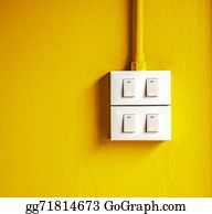 House-Alarm-Concept-Icon - Electric Switch On Yellow Background