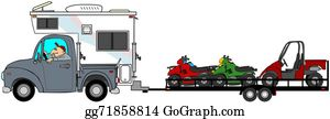 Tow-Truck - Truck With Camper Towing Atv's