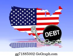 Government-And-Economy - American Map And Debt Ball