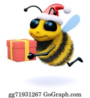 Bee-Hive - 3d Honey Bee Holding A Christmas Gift