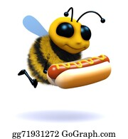 Bee-Hive - 3d Honey Bee Has A Hot Dog