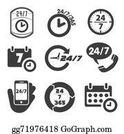 24-Hour - 24 / 7 Icon Set