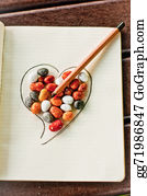 Pencil-Case - Heart, Stones And Pencil 1