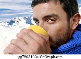 Freezing-Cold - Young Attractive Man Outdoors Drinking Cup Of Coffee Or Tea In Cold Winter