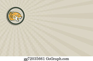 Growl - Business Card Angry Tiger Head Growling Side Circle Retro