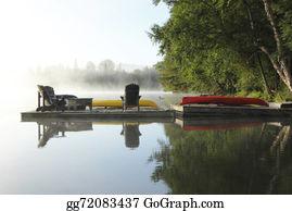 Canoe - Misty Morning - Haliburton, Ontario, Canada