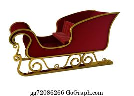 Sleigh - Red And Gold Santa Sleigh