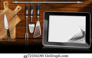 Utensils - Tablet Computer In The Kitchen