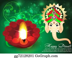 Ganesha - Deepawali Background With Ganesha G