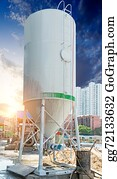 Concrete-Silo - Concrete Mixing Tower. Concept Of On-Site Construction Facility.