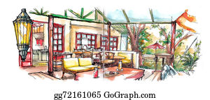 Coffee-House - Coffee House Garden Illustration