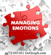 Emotions - Managing Emotions On Red Puzzle.